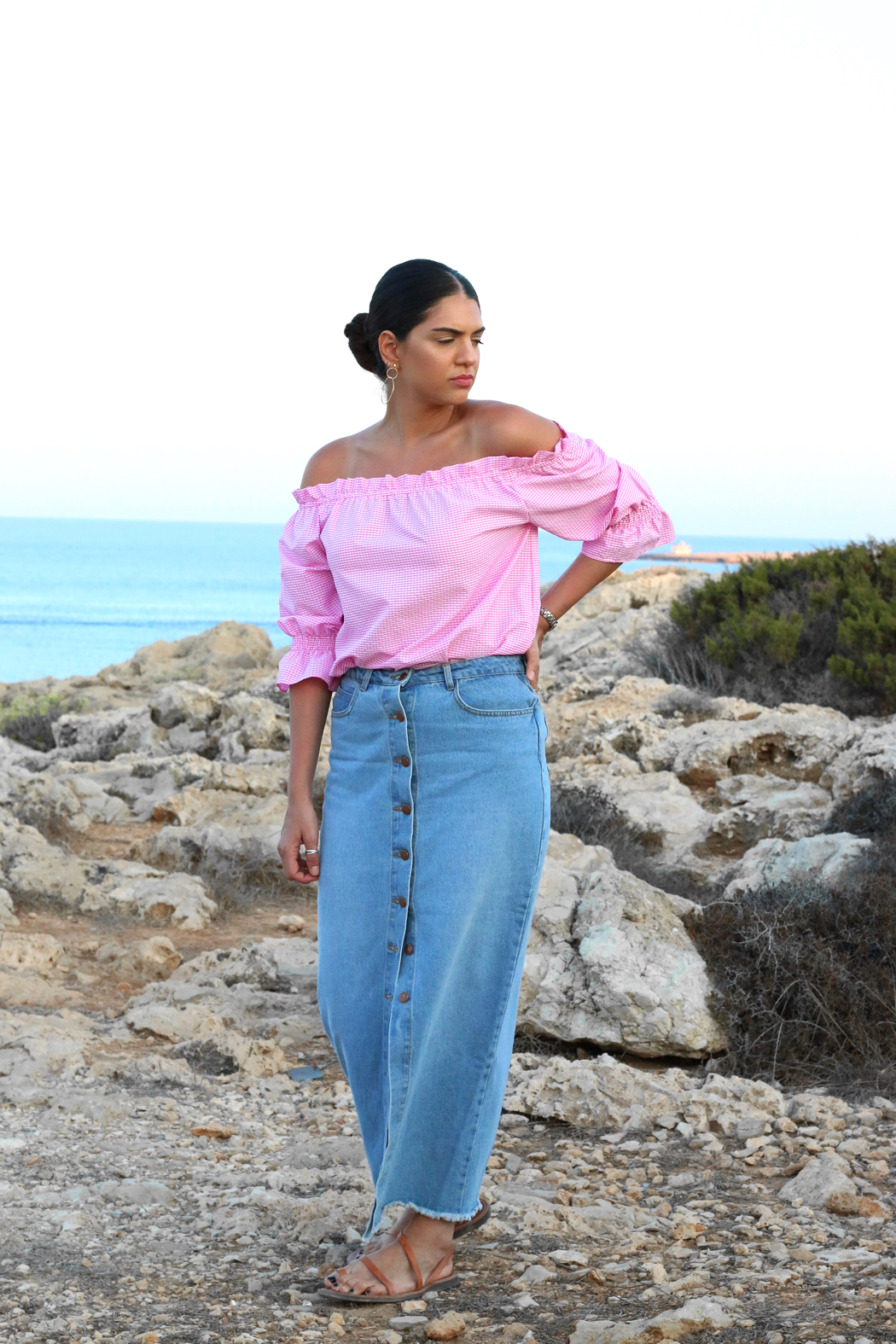96639d08186 Asos Denim Maxi Skirt With Button Front In Mid Wash Blue - Data ...
